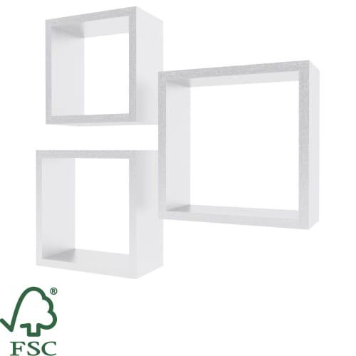 Полка мебельная квадратная цвет белый, 3 шт.