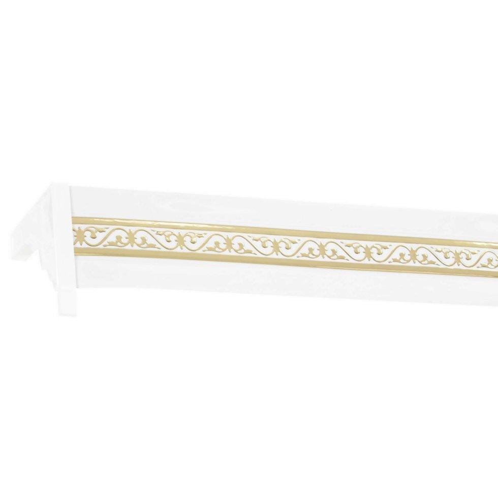 Карниз шинный двухрядный «Луи» в наборе 320 см цвет белый глянец