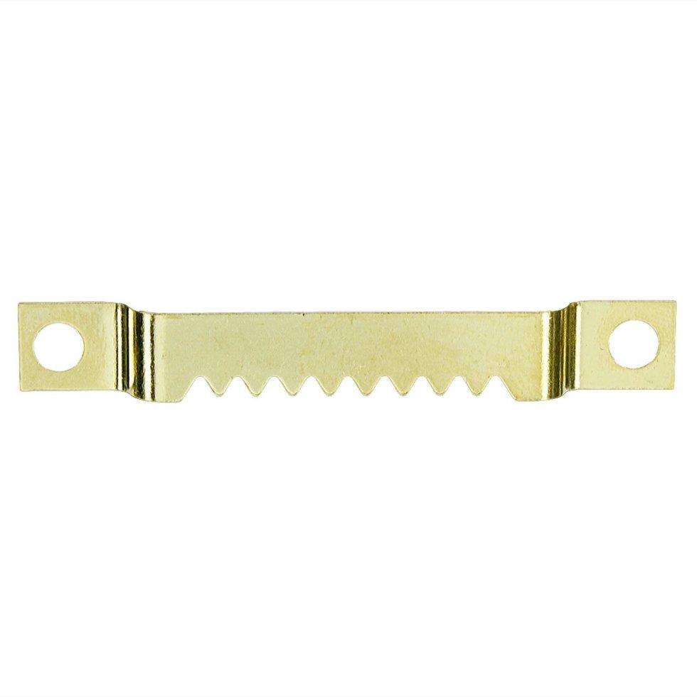 Зацеп зубчатый для рамки, крепление шурупами, большой, 55 мм, латунированная сталь