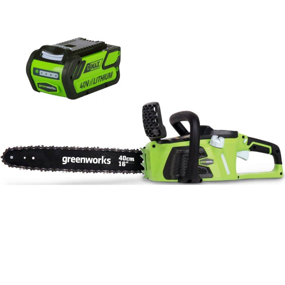 Пила цепная аккумуляторная GreenWorks, 40 В, безщёточный двигатель, без аккумулятора и зарядного устройства в комплекте