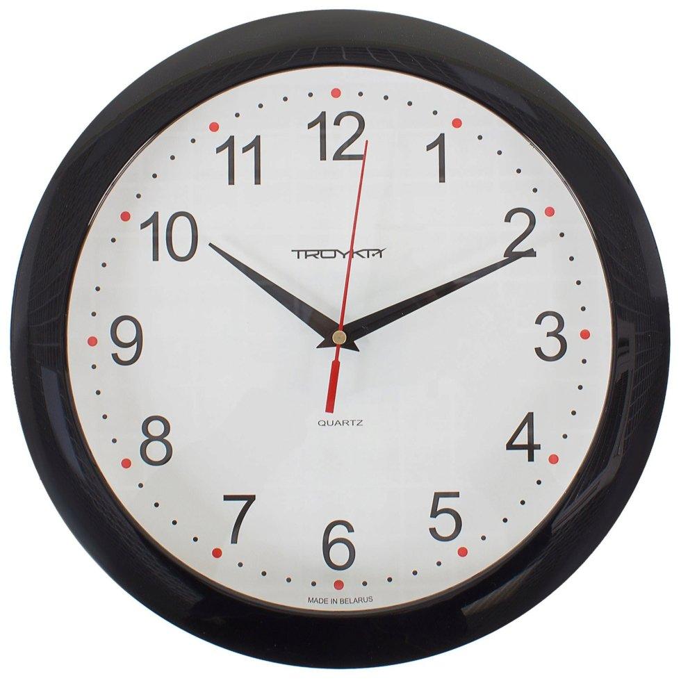 Часы настенные круглые цвет черный диаметр 29 см