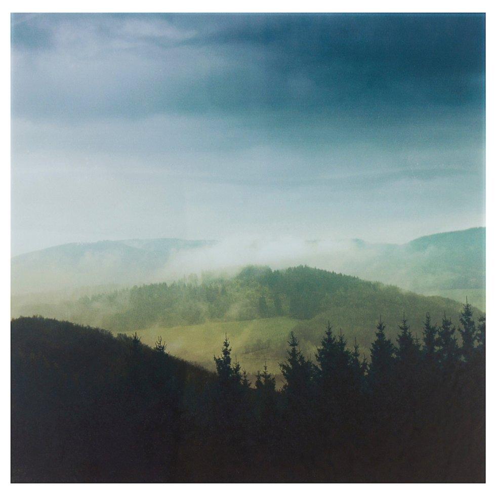 Картина на стекле 30х30 см «Облака над горами»