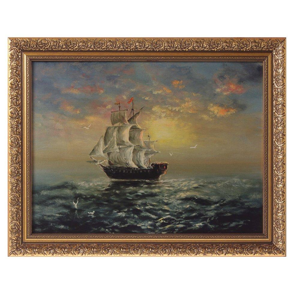 Картина в раме 30x40 см «Корабль на закате»