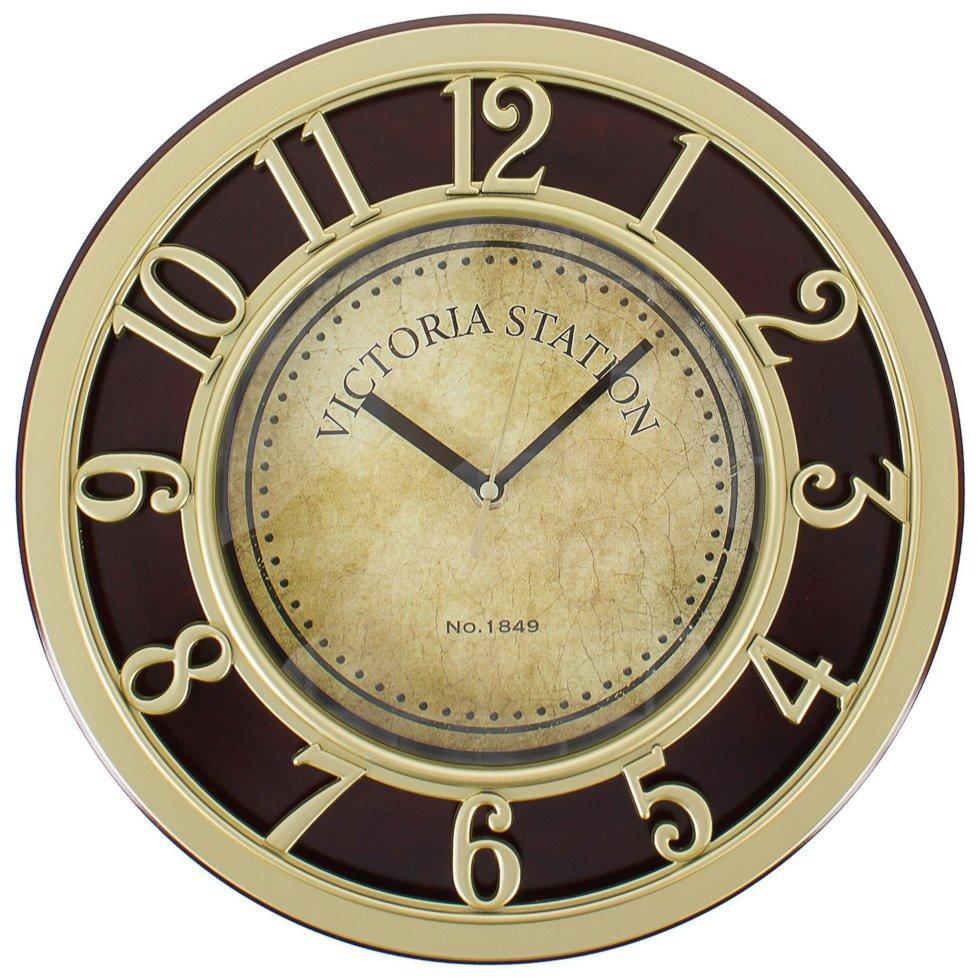 Часы настенные Золото цвет коричневый диаметр 31 см