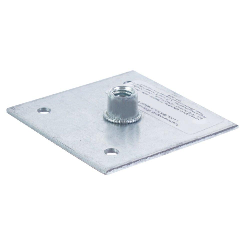 Пластина опорная 60x60x2 мм, гайка M8, оцинкованная сталь