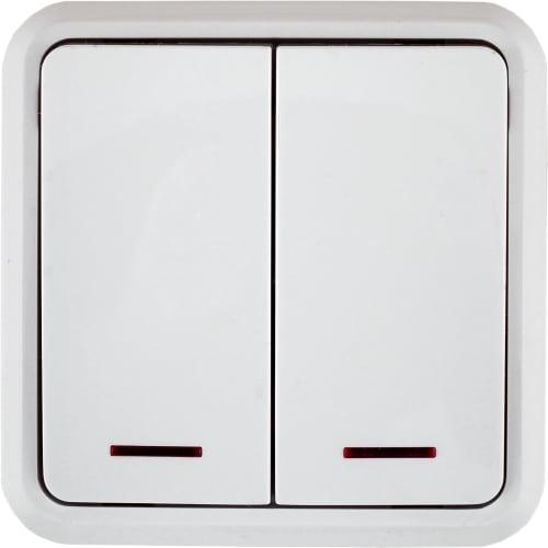 Выключатель двойной с подсветкой цвет белый