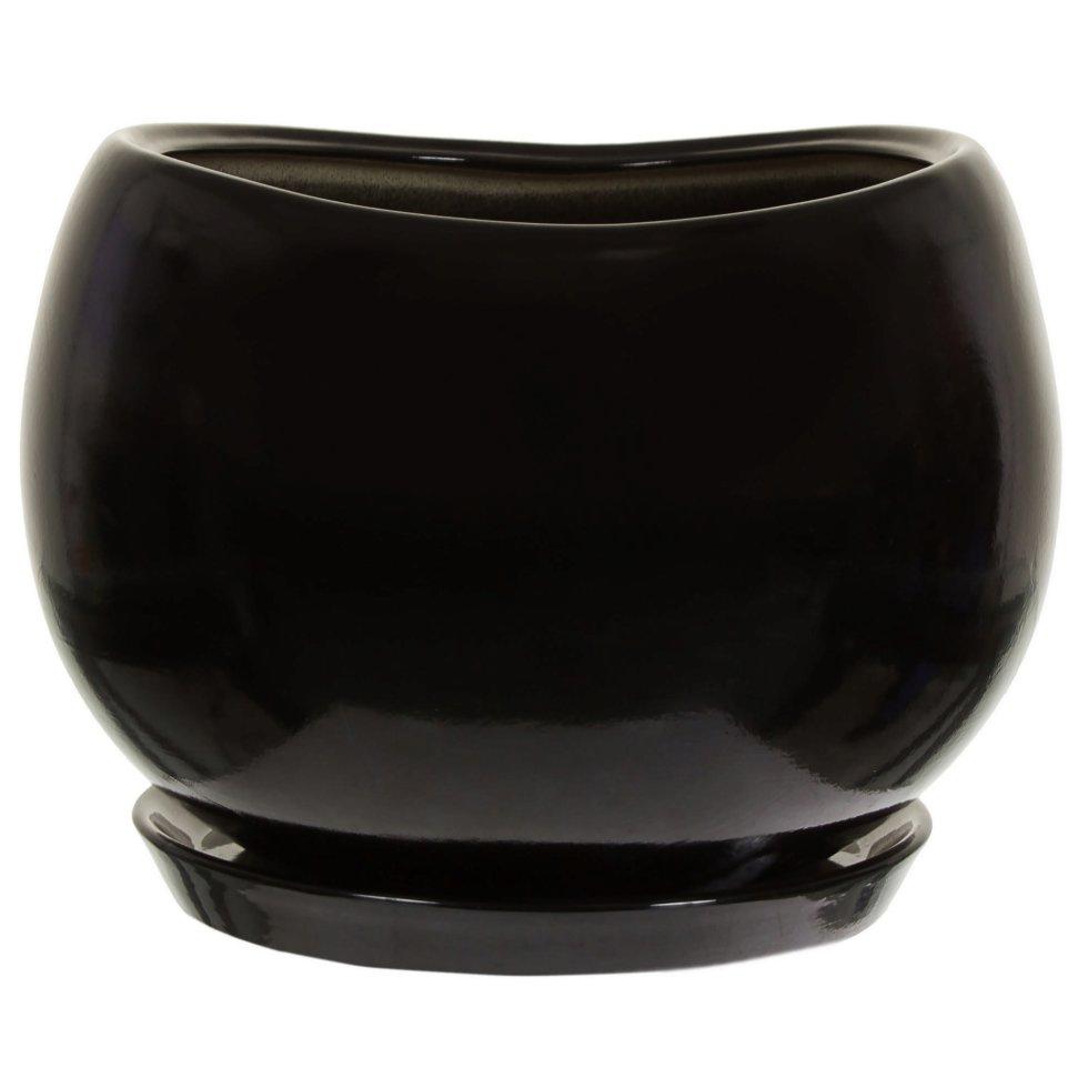 Горшок цветочный «Адель» d28 см, керамика, цвет чёрный