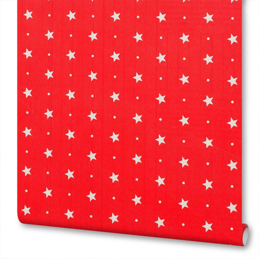 Плёнка самоклеящаяся «Красные звёздочки» 0,45х2 м