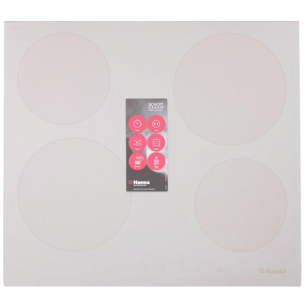 Варочная панель индукционная Hansa BHIB68328 57.5х52 см, 4 конфорки, 7400 Вт, цвет слоновая кость