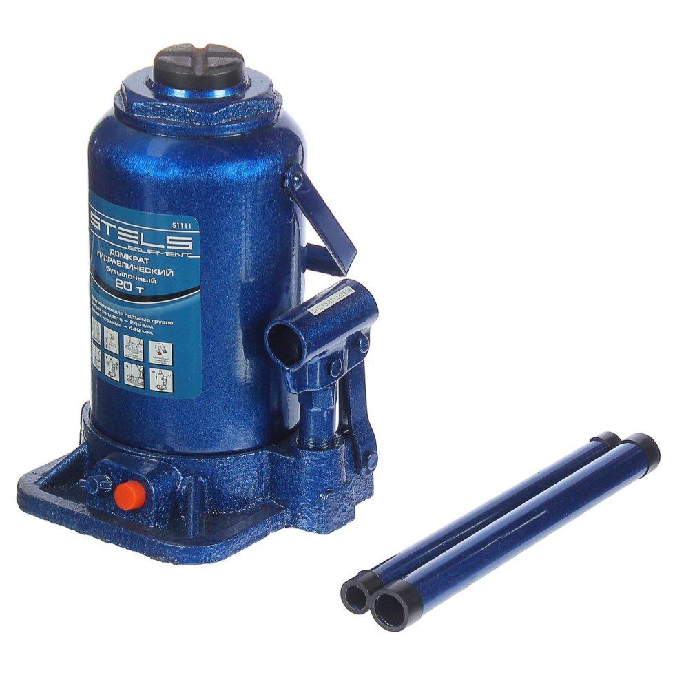 Домкрат гидравлический бутылочный, грузоподъёмность до 20 тонн, высота подъёма 244-449 мм