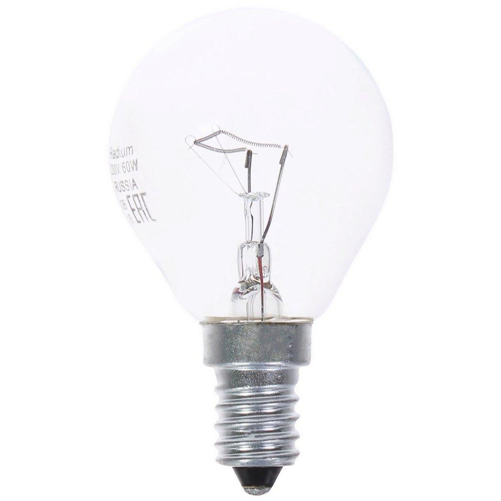 Лампа накаливания Radium «Шар», E14, 60 Вт, прозрачная колба