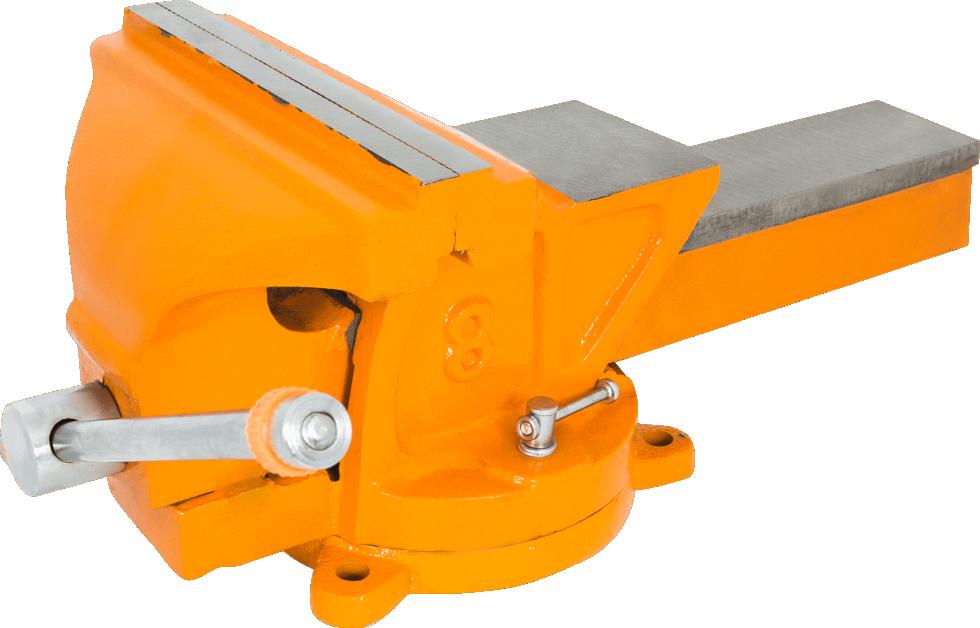 Тиски слесарные поворотные Калибр ТПСН-200, с наковальней, 200 мм