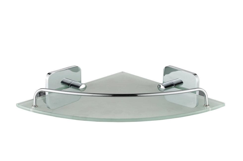 Полка для ванной комнаты Kraft угловая, стекло/хром
