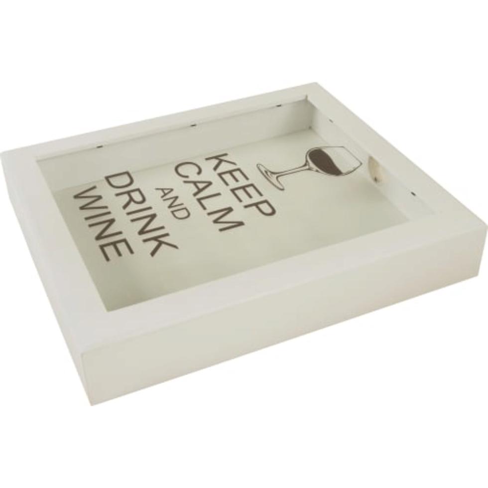 Копилка для пробок «Keep calm and Drink wine», 22х26, цвет белый