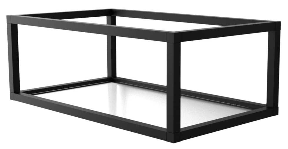 Полка-каркас для стеллажа 22х35х60 см, алюминий/стекло