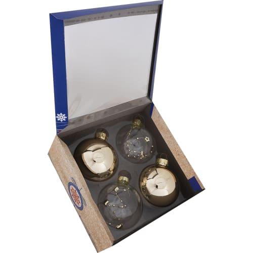 Набор ёлочных украшений 4 шара, стекло, цвет золотой, прозрачный