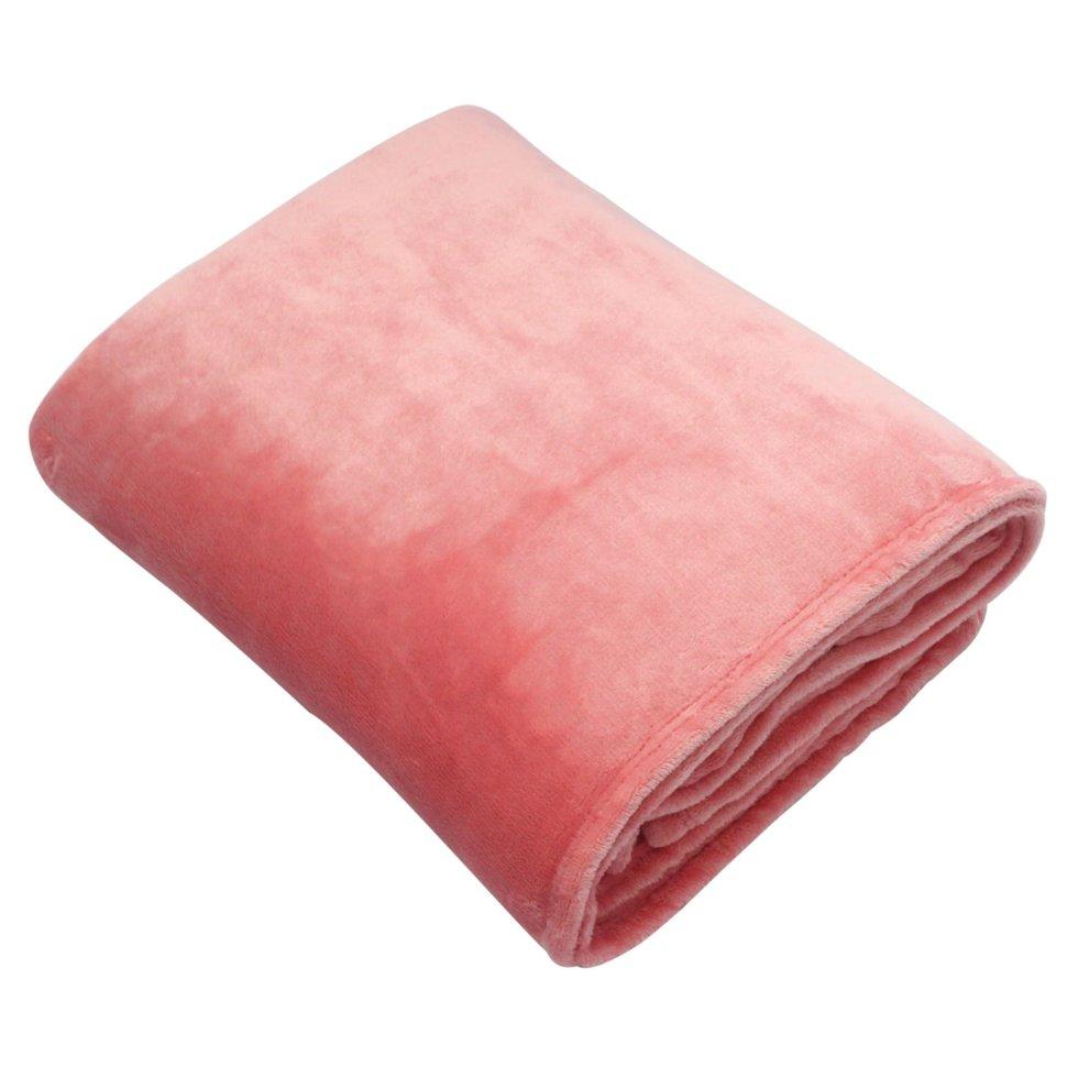 Плед, 180х200 см, фланель, цвет розовый
