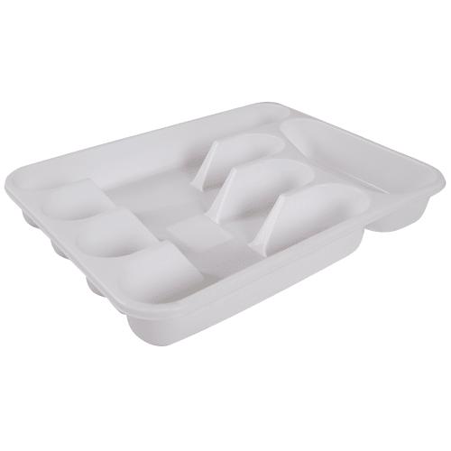 Лоток для столовых приборов раздвижной, 33.5х26х4.8 см, полипропилен, цвет белый