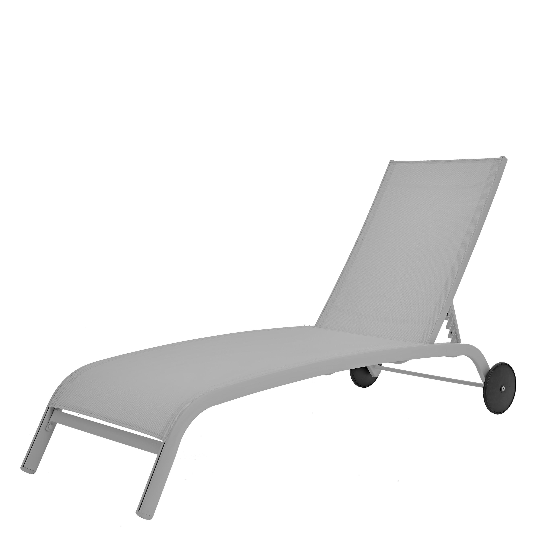 Шезлонг с колесами Naterial Lyra 207х63 см алюминий/ текстиль светло-серый