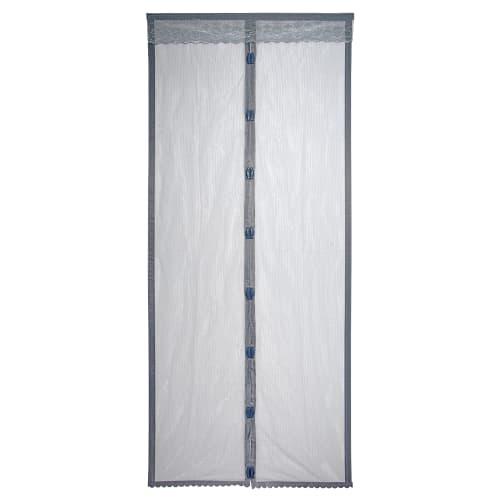 Москитная сетка-штора на дверь с магнитом 45x210 см, цвет серый, 2 шт.