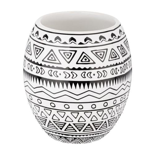 Стакан для зубных щёток Moroshka Nomads керамика цвет белый/чёрный