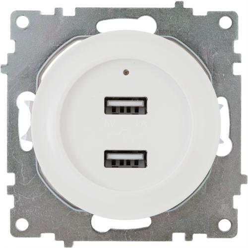 Розетка USB двойная встраиваемая Onekeyelectro, с подсветкой, цвет белый