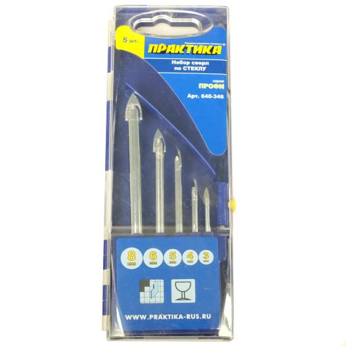 Набор сверл Практика Профи 640-346 по стеклу и керамике, 5 шт, кассета