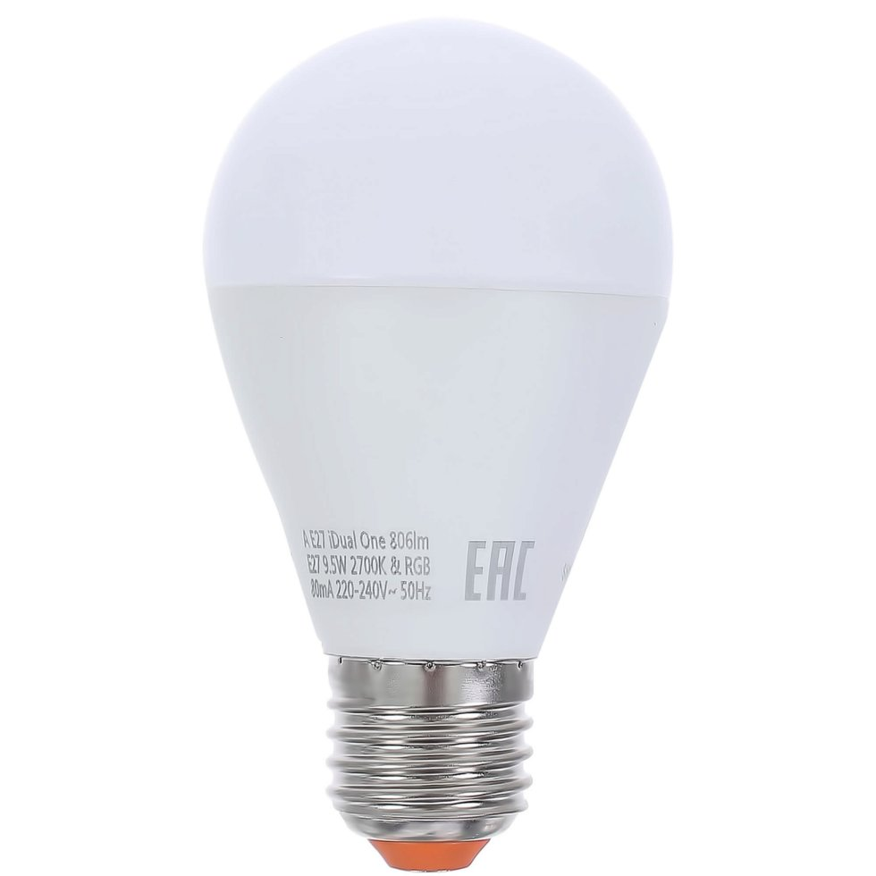 Лампа светодиодная Lexman iDual One E27 9.5 Вт 806 Лм RGBW с пультом ДУ